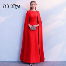 It S Yiiya Simple Red O Neck Full Cap Sleeve Cape Zipper Dinner Party Formal Dress A Line Floor Length Evening Lx405