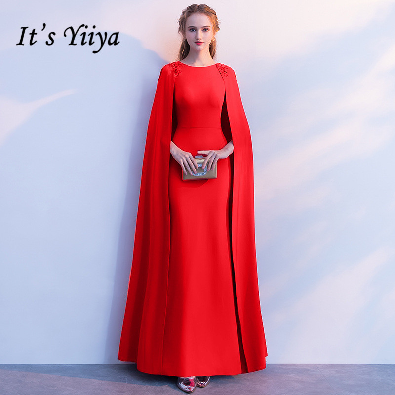 It's YiiYa Simple Red O-Neck Full Cap Sleeve Cape Zipper Dinner Party Formal   Dress   A-line Floor Length   Evening     Dress   LX405