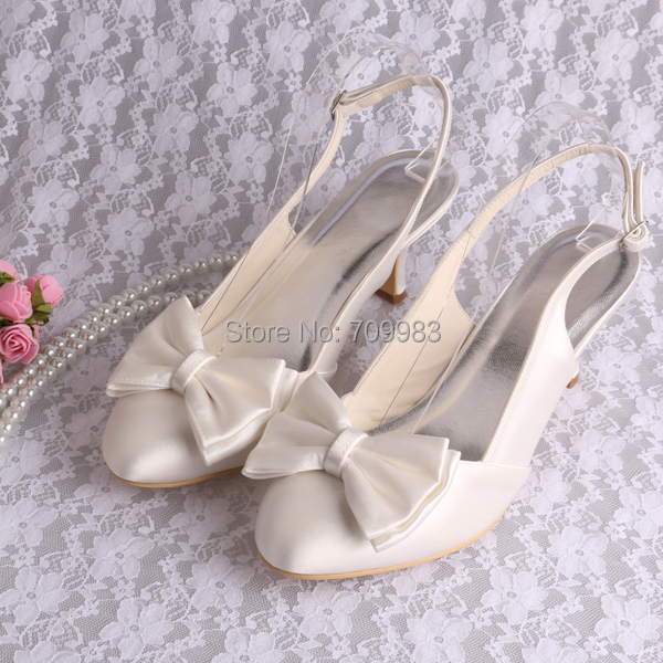35b0a65dfe9f Slingback Ivory Low Heel Wedding Shoes Satin Fabric 6.5CM Heel with Bows  Free Shipping