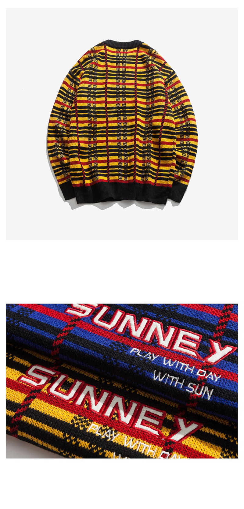 Knitted Harajuku Casual Embroidered Letter Plaid Sweater for Men Japanese Style Urban Boys Knit Pullover Jumper Plus Size M-XL 9