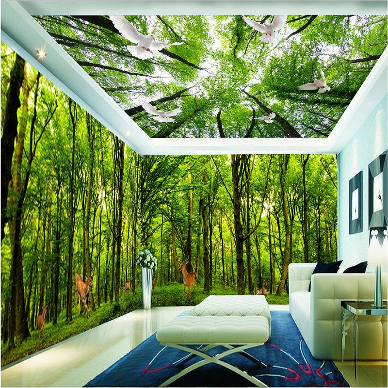 Pegeon Forest 3d Ceiling Wallpaper Murals 5D Papel Murals 3d wall photo murals for Living Room 3d wall mural 3d Wall stickers custom photo wallpaper 3d wall murals balloon shell seagull wallpapers landscape murals wall paper for living room 3d wall mural