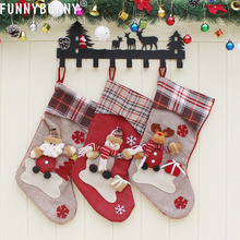 FUNNYBUNNY Christmas Stockings Candy Bags Gift Tree Decoration Mini Socks (Santa Snowman Reindeer)