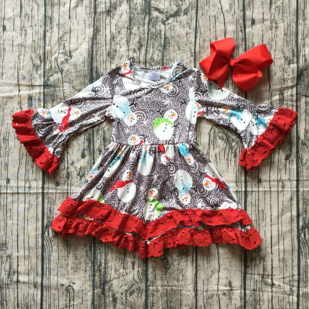 все цены на new Christmas fall/winter baby girls cotton outfits red grey snowman ruffle dress children clothes boutique match accessory bow