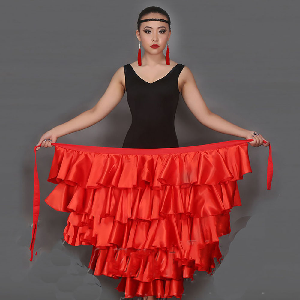 edbac7bfdb6b Classical Latin Dance Skirts For Ladies Black Red Clothes Fantasia Women  Competitive Paso Doble Fluffy Bullfight Garments E002-in Latin from Novelty  ...