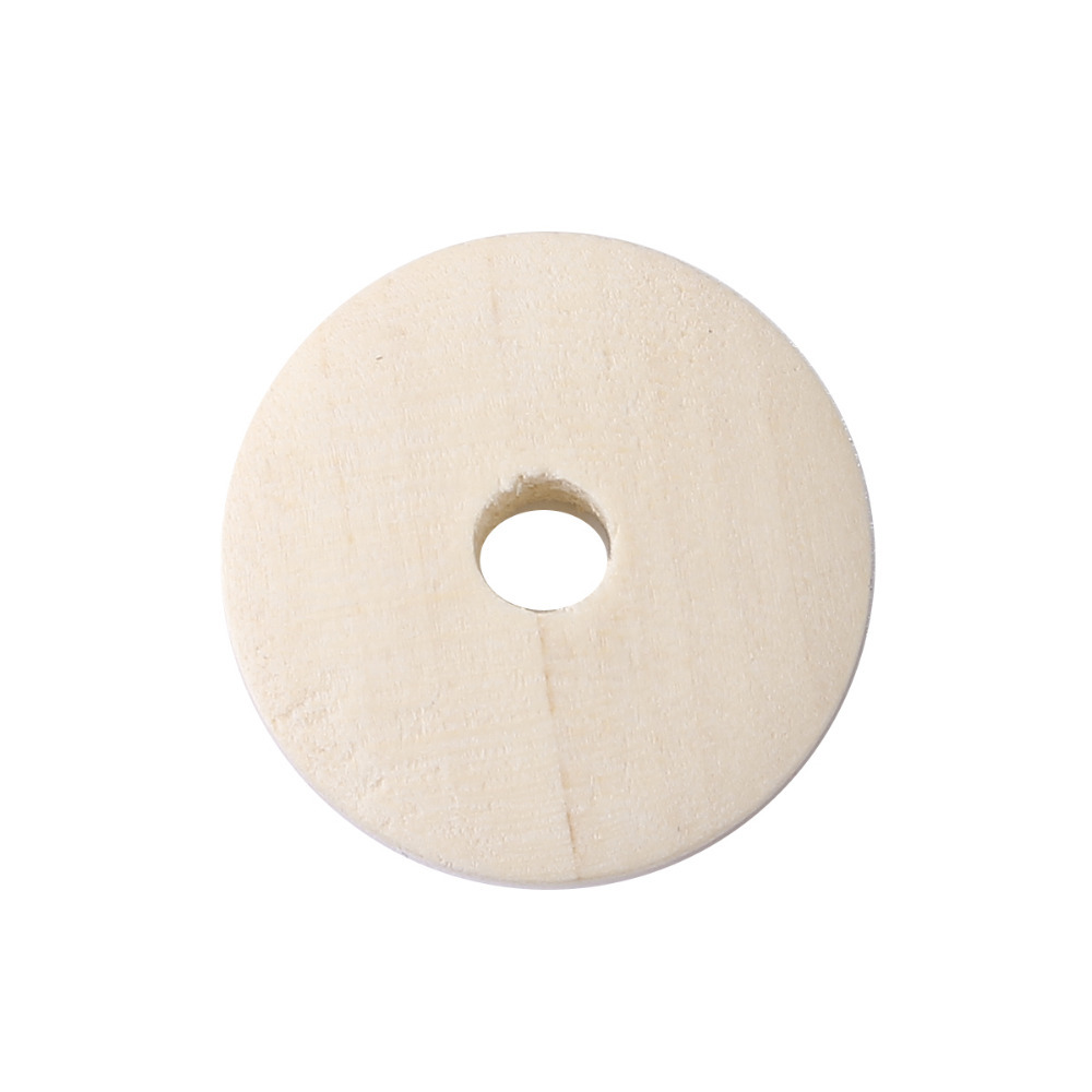 DoreenBeads Round Natural Hinoki Wood Spacer Beads DIY Components Findings About 20mm( 6/8) Dia, Hole: Approx 4mm, 100 PCs