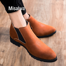 Misalwa Fashion British Chelsea Men Boots Winter Spring High Top Platform Mens Boots Zip Snow Anti-skid Pointed Toe Short Boots
