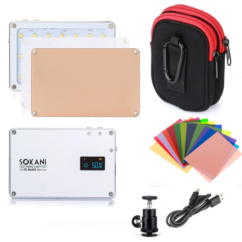 SOKANI X21 LED On Camera Video Light Pocket-Sized Daylight OLED Screen Build-in 1600mAh Battery for DSLR Sony Nikon Canon