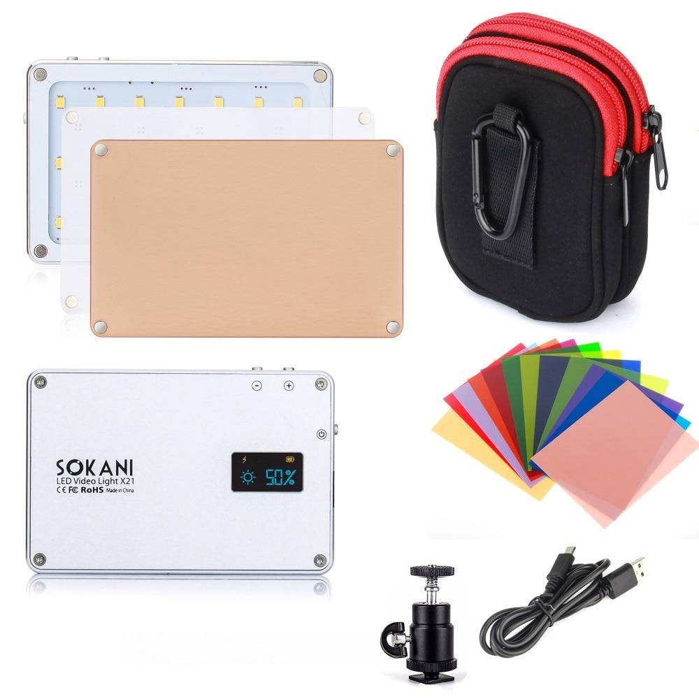SOKANI X21 LED Sur Lumière de la Caméra Vidéo de Poche Lumière Du Jour Écran OLED Construire-dans 1600 mah Batterie pour DSLR Sony Nikon Canon