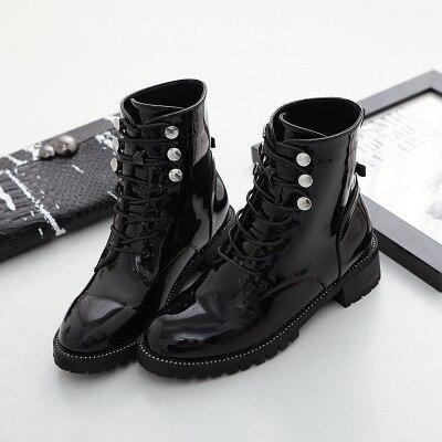 8890eae2313a74 Moto Dames Martin Bottes En Automne Chaussures Noir Femmes Plat Cuir Verni  Mode Cheville Botas Hiver xOAqtXHqw