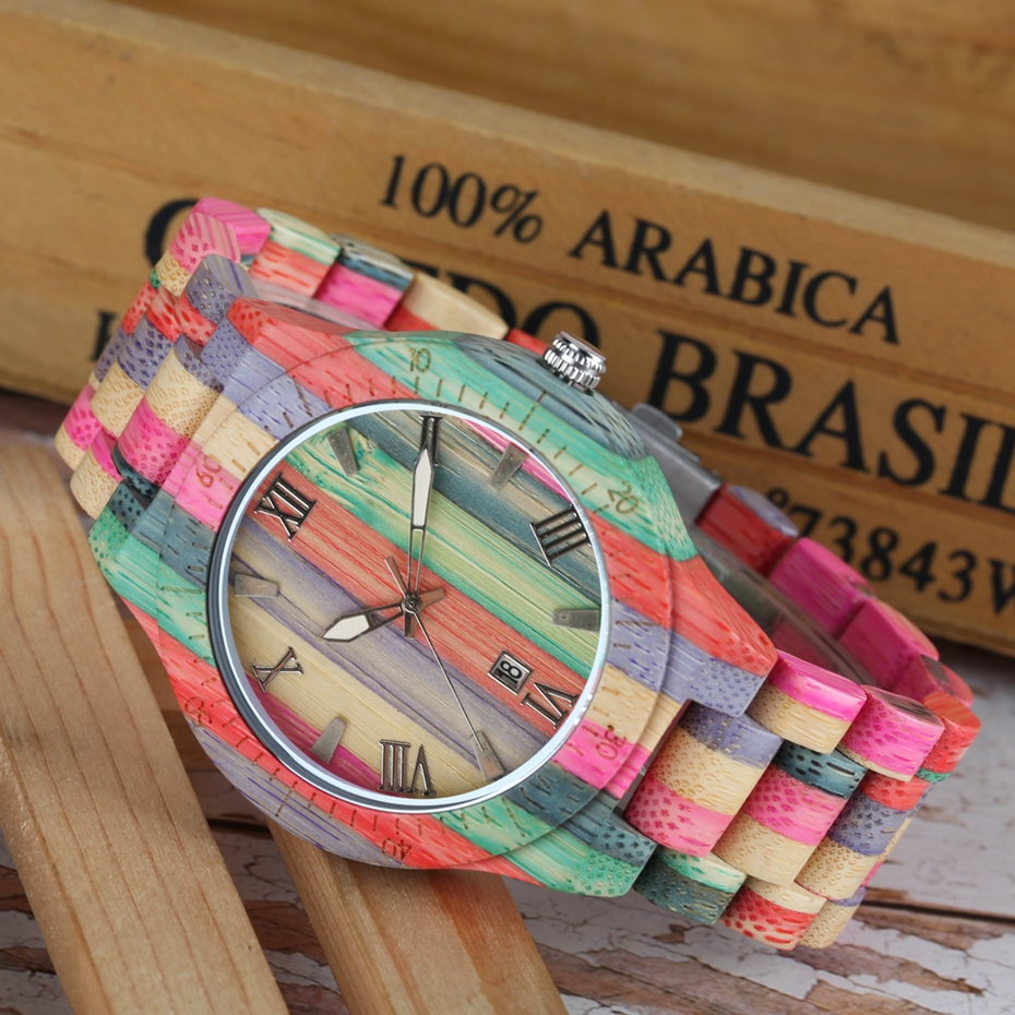 Unique Colorful Men Bamboo Watches Lovers Handmade Natural Wooden Bracelet Quartz Analog Luxury Wristwatches Ideal Gifts Items  (7) -