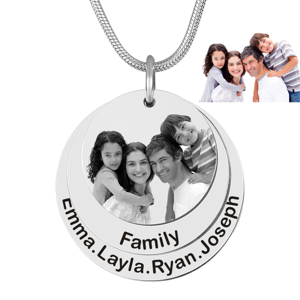 Custom Family Photo&Name Laser Engraved Anniversary Necklaces With Stainless Steel Name Charm Pendant Jewelry Gift
