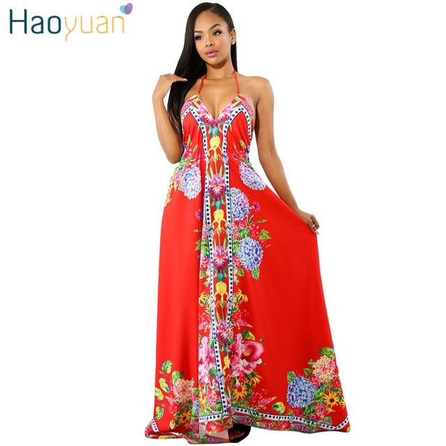 03b4be8baa8 HAOYUAN Long Maxi Dress Women 2018 Summer Off Shoulder Backless Bohemian Sundress  Boho Beach Dress Elegant Sexy Party Dresses