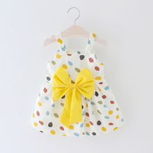 Summer New 0-24M Casual Baby Girl Clothing Cotton Print Dot Princess Sleeveless Dress Infant Bow Dresses Toddler Clothes infant baby clothes brand design sleeveless print bow dress 2016 summer girls baby clothing cool cotton party princess dresses