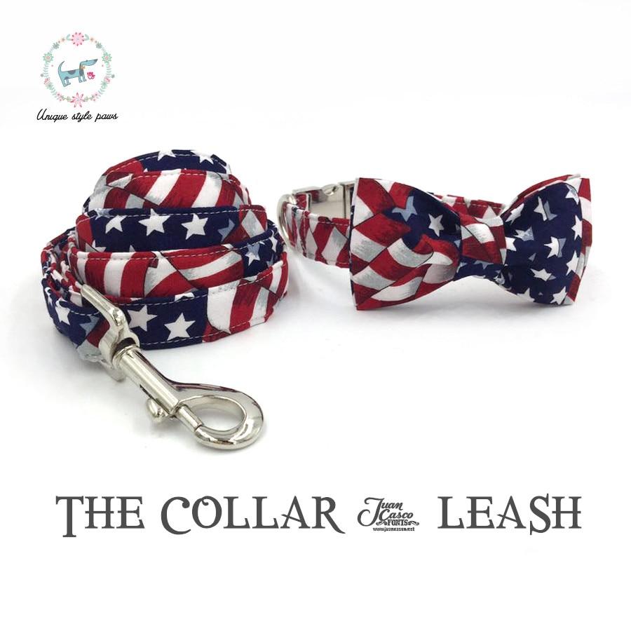 星とストライプの犬の首輪とひもセット蝶ネクタイコットン犬&猫のネックレスと犬の鎖の結婚式の襟