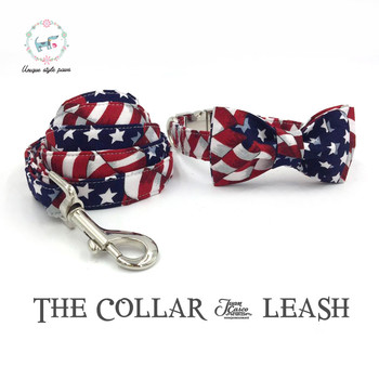 the stars and stripes dog  collar and leash set with bow tie  cotton  dog &cat necklace and dog leash  wedding collars