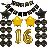 Chicinlife 1Set 1 16 18 21 30 35 40 Years Old Birthday Party Decoration Black Happy