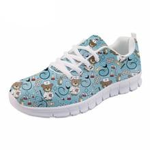 ФОТО noisydesigns blue cartoon nurse bear print light lace up shoes women casual nurses breathable mesh shoes cute girl walking shoes