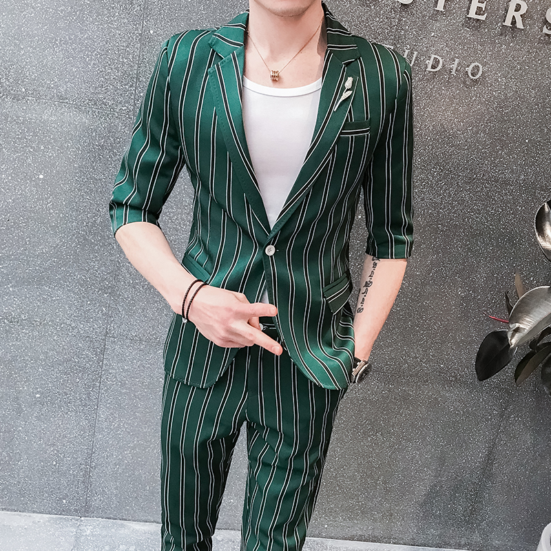 2019 Mens 2 Piece Suits Green Prom Tuxedos Mens Pinstripe Suits Party Dress Abito Uomo Cerimonia Coreano Mens Prom Suit Slim Fit