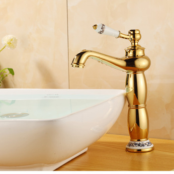 Free shipping retail Golden basin faucet copper antique wash basin leading European style cold and hot water bathroom faucet