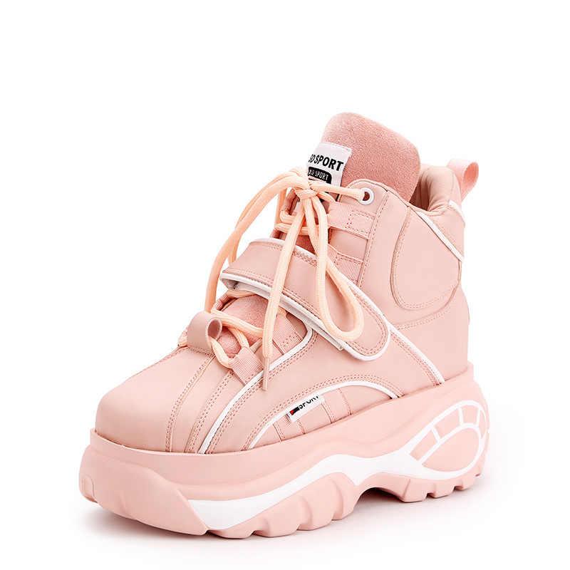 a2d647a8e Горячая Распродажа розовый увеличить женские кроссовки 7 см 2018, фирменные  весенне-осенние Коренастый кроссовки