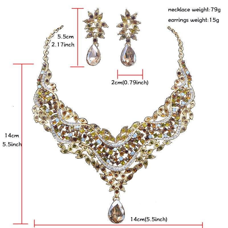 59f0448d3d1064 India style crystal Delicate Jewelry sets women wedding Dress decoration  necklace earrings Bridal party jewellery accessories-in Jewelry Sets from  Jewelry ...