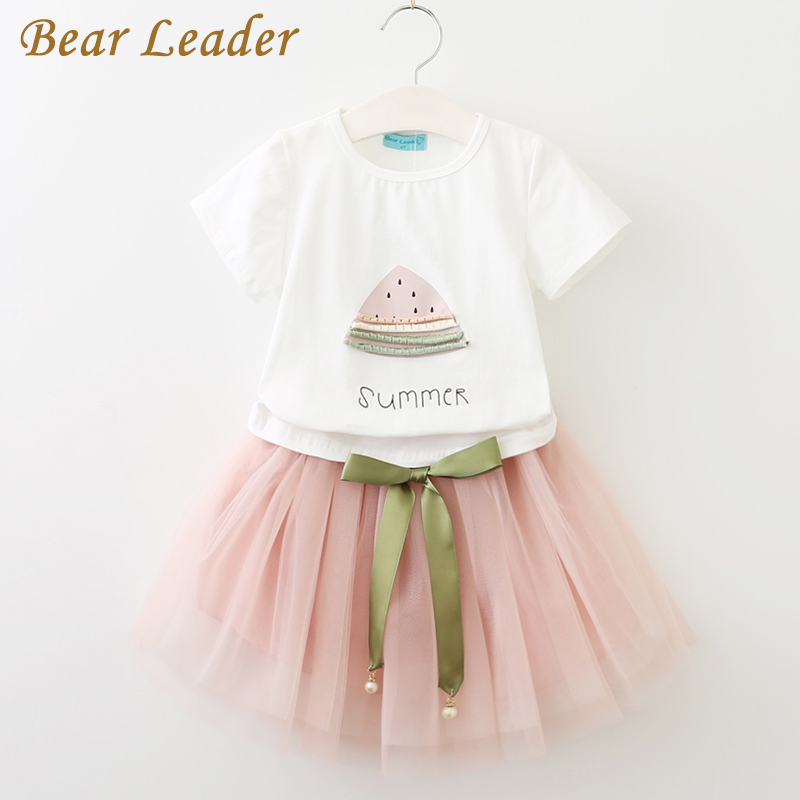 Bear Leader Girls Clothes 2017 Brand Girls Clothing Sets Kids Clothes Cartoon Cat Children Clothing Toddler Girl Tops+Skirt 2-6Y 2018 little girls 2 pieces tutu skirt clothing sets summer cartoon cute cat toddler girl short tops lace skirts kids outfits