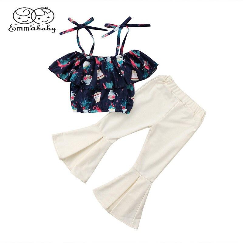 Emmababy Fashion Toddler Kids Girls Off Shoulder Floral Short Sleeve Vest Shirt Tops+Flares Pants 2pcs Summer Outfits Set