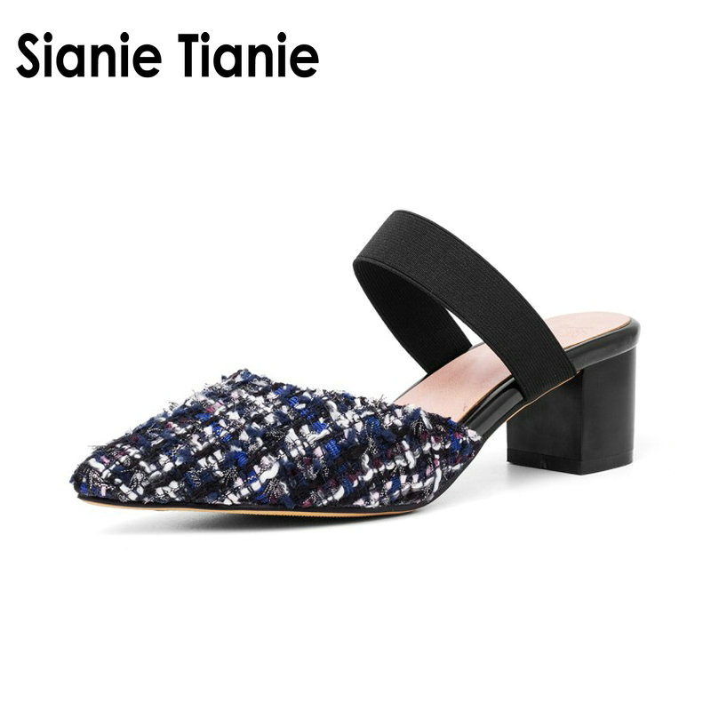 Sianie Tianie plaid checked pointed toe sexy woman pumps outside slippers slides block h ...