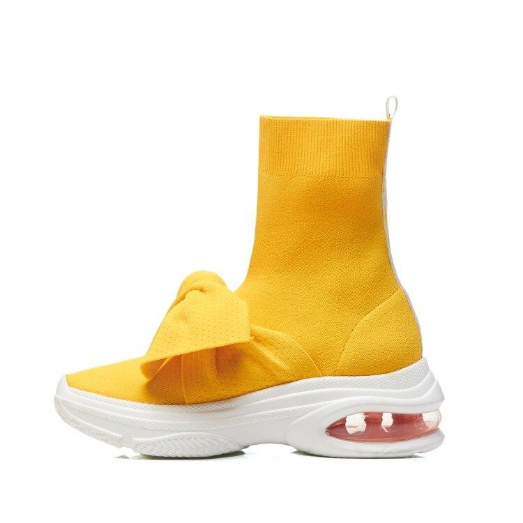 Jeunes Chaussons Femmes Chaussures forme Courtes Bottes Cheville Chaussettes Noir D'hiver Élastique Mode {zorssar} 2018 Plate Femelle jaune Tissu Plat q6HBxRE