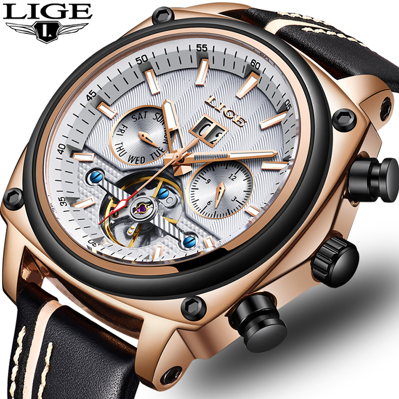 Relogio Masculino LIGE Top marque de luxe automatique mécanique montre mâle en cuir étanche Sport montre hommes d'affaires montre-bracelet
