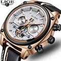 Relogio masculino LIGE Marca Top de Luxo Relógio Mecânico Automático Masculino Relógio Do Esporte relógio de Pulso Dos Homens de Negócios de Couro À Prova D' Água
