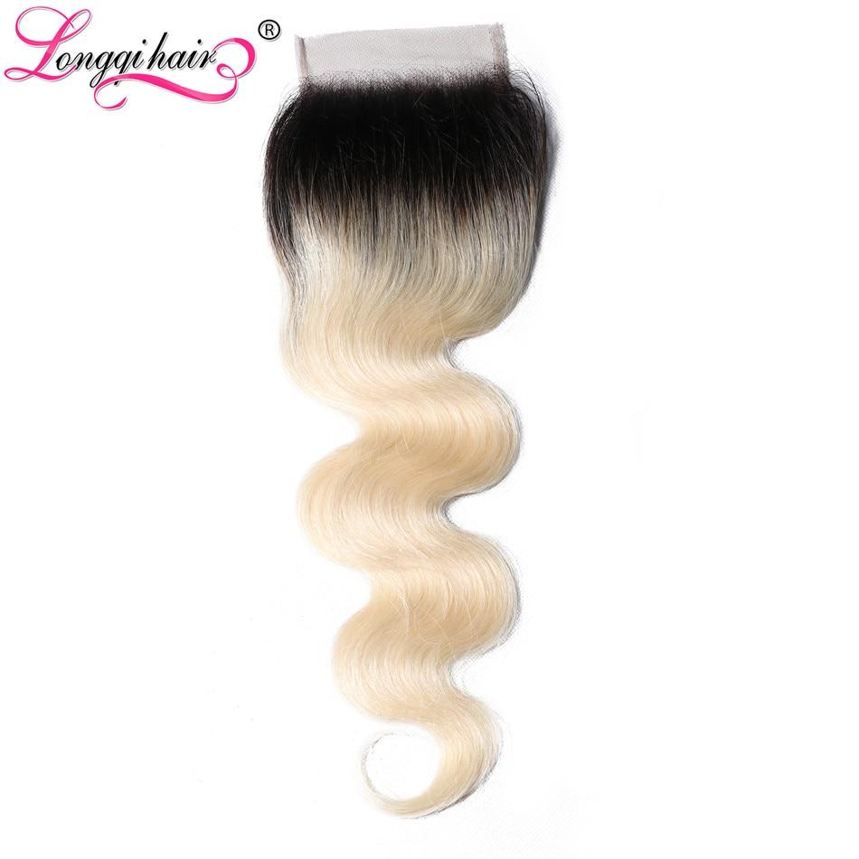 Longqi-Cabello Humano Remy rubio con cierre de encaje ombré, prearrancado, pelo de bebé, cuerpo brasileño, Onda de encaje, cierre, 4x4, 613