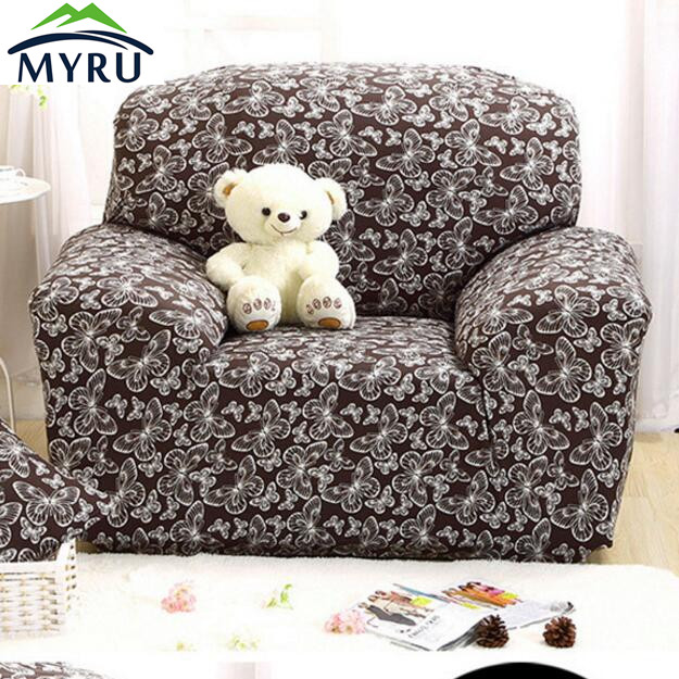 Brown Butterfly Children Stretch Sofa Cover Tight Wrap All inclusive Big Elasticity Couch Cover Furniture Cover