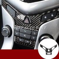 Carbon Fiber Center Console Button Trim Cover 2pcs For Chevrolet Cruze 2009 2015