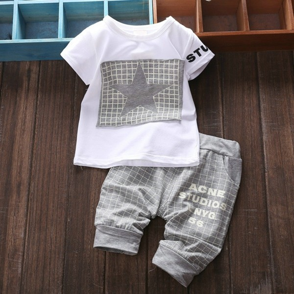 Baby Kids Boys Girls Clothing Sets 4 Colors Casual Style Stars Printing Clothes Kids Clothes 06