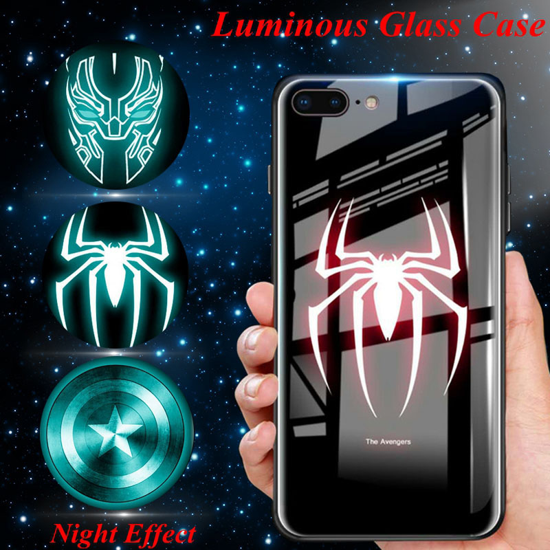 Luminous Glass Case For iphone XS Max 8 iphone 6s Plus 6 s Iron Man Panther