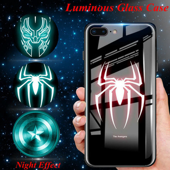 Luminous Glass Case For iphone XS Max 8 iphone 6s Plus 6 s Iron Man Panther Marvel Cover for iphone 7 8 plus Coque iphone 7 XR X