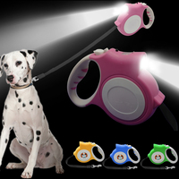 5M Retractable Dog Leash With Light Bright Flashlight Extending Puppy Walking Leads For Small Medium Dogs
