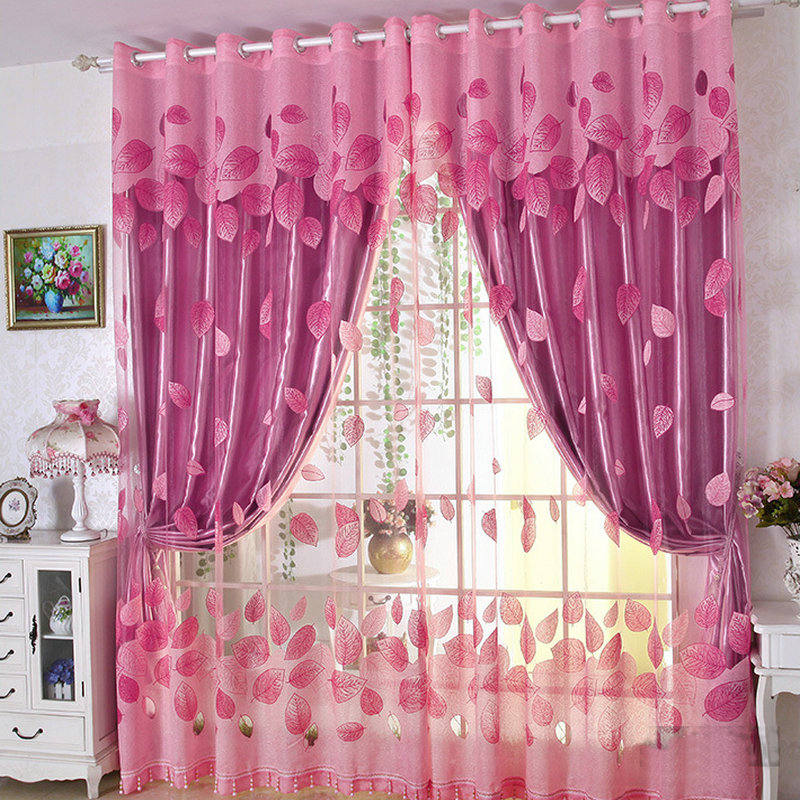 Luxury Modern Flowers Curtain Tulle French Window Embroidered For ...