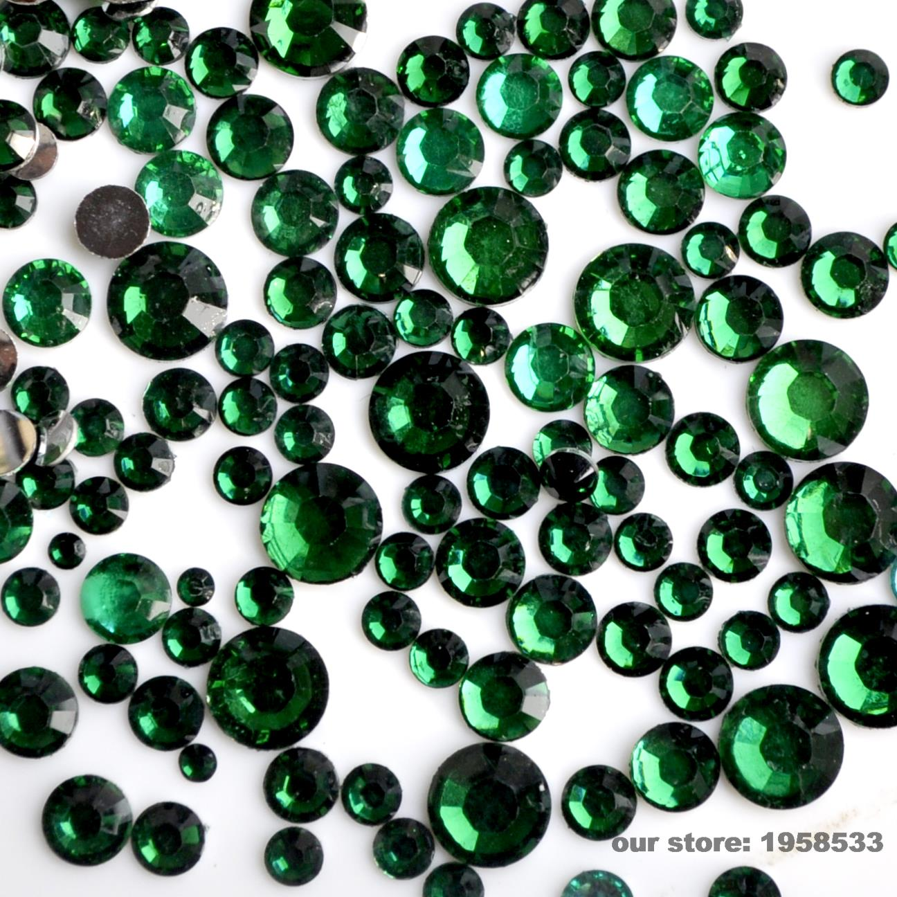 Mix Size 2mm - 6mm 400pcs/Bag Dark Green Resin Nail Art Glitter Rhinestone Nails Tools DIY Decoration N19