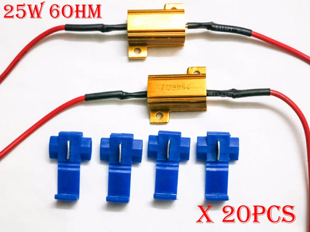 20PCS 25W 6ohm Gold Fuse LED Bulbs High Power Fog Turn Brake Signal Load Resistor Wiring Canbus No Error Fix Flash Blink Hyper