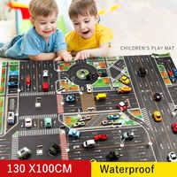 130*100CM Large City Traffic Car Park Play Mat Waterproof Non-woven Kids Playmat Pull Back Car Toys for Children's Mat