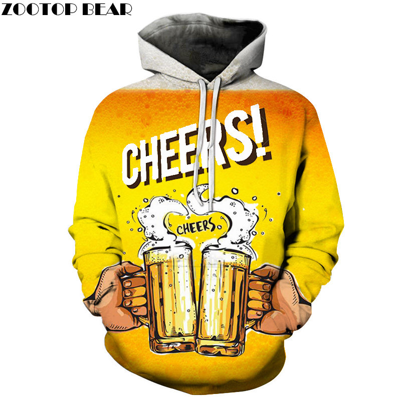 Cheers Time 3D Print Brand Casual Hoody Sweatshirts Men Tracksuit Hoodies Male Pullover Streetwear Coat DropShip ZOOTOPBEAR New