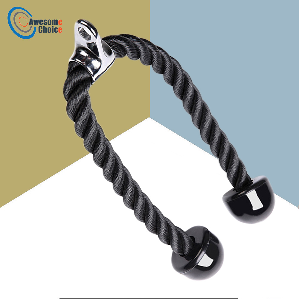 Heavy Duty Tricep Rope Abdominal Crunches Cable Pull Down Laterals Biceps Muscle Training Fitness Body Building Gym Pull Rope