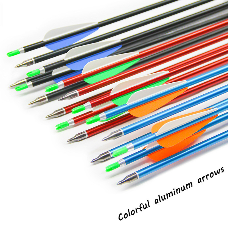 Tir à l'arc et flèche en aluminium coloré tir à l'arc et flèche flèche de chasse tir à l'arc en aluminium spécial avec tête remplaçable