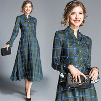 2019 Women Spring Autumn New Long Dress Fashion Plaid Long Sleeve Vintage A Line High Waist Stand Work Dress Plus Size Slim Work