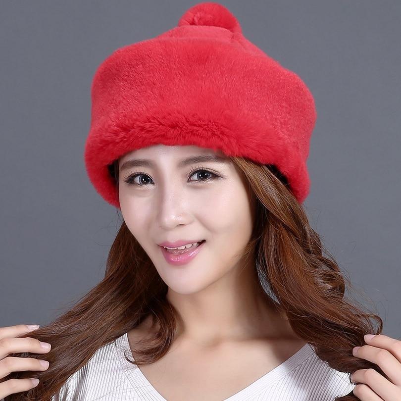 ФОТО winter genuine rex fur hat rabbit hair yurts warm headgear casual beanies female fur hat new real fur yurts hat for winter women
