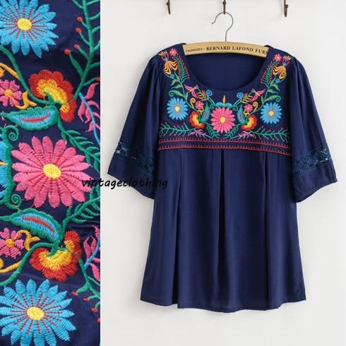S Encaje Floral Navy Loose Retro Bordado Big 70 Vintage Bohemia Mexicana Crochet De 7r8qEBw