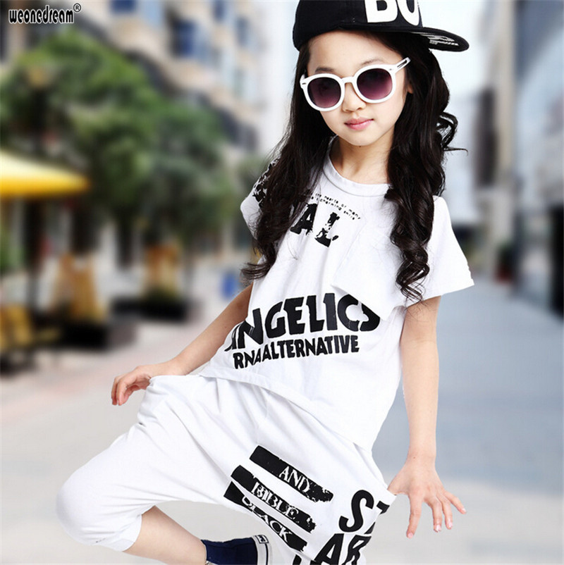 827b677445 US $14.58 44% OFF|WEONEDREAM Hip Hop Style 2018 Summer Girls Fashion Short  Sleeve Dancing Clothing Sets Kid Tees Harem Pant Kids Clothes Suits-in ...