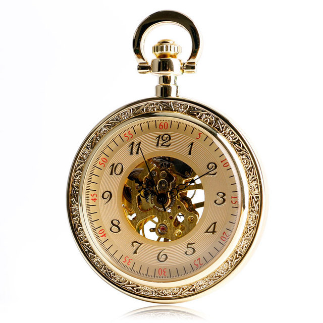 Vintage Classic Mechanical Pocket Watch Clock Hour Time Full Gold Hand Wind Fashion Skeleton Open Face Women Men Christmas Gifts